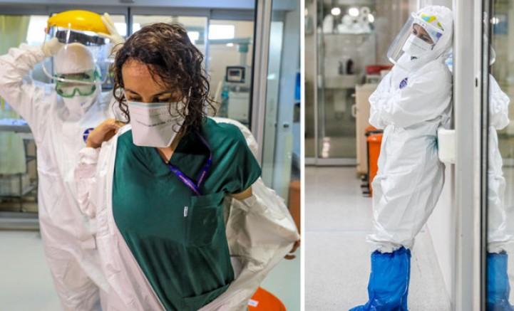 Astronot gibi giyindikleri koruyucu kıyafetlerden sırılsıklam çıkıyorlar