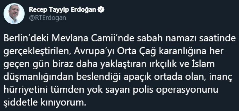 Cumhurbaşkanı Erdoğan'dan büyük tepki