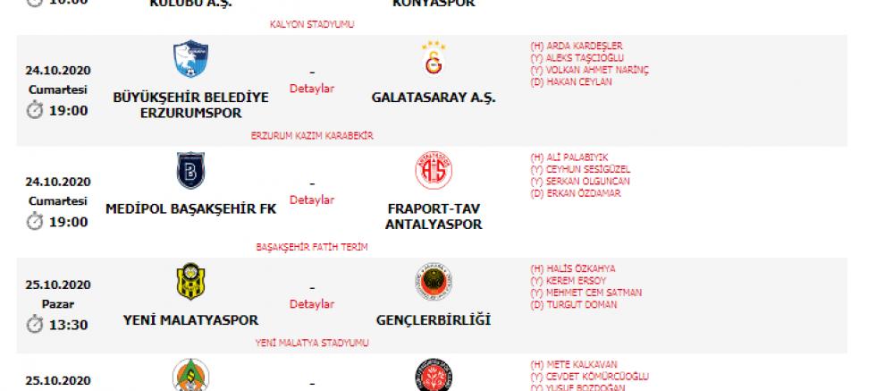Süper Lig 6. hafta hakemleri
